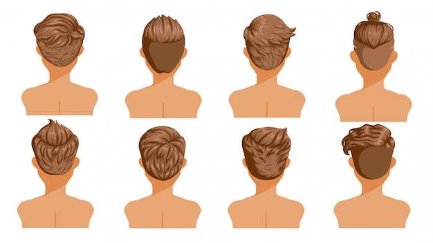 Premium Vector Men Hair Rear View Set Of Men Cartoon Hairstyles Collection Of Fashionable Stylish Types