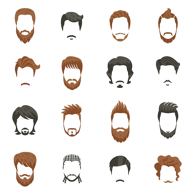 Men hairstyle icons set Free Vector