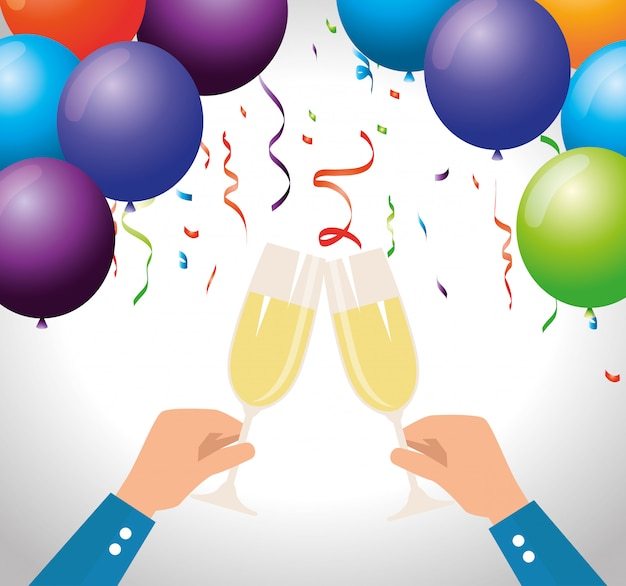 Men hand with champagne and balloons with confetti Free Vector