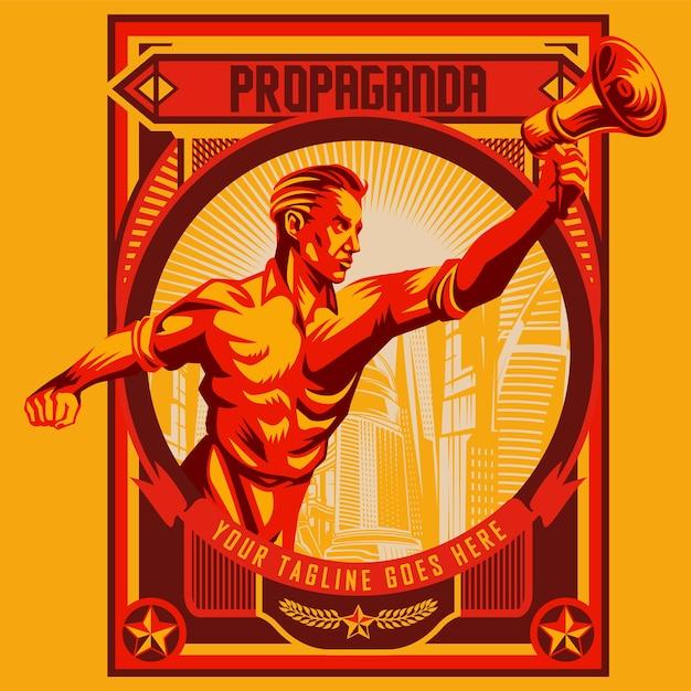 Men holding megaphone propaganda revolution poster design Premium Vector