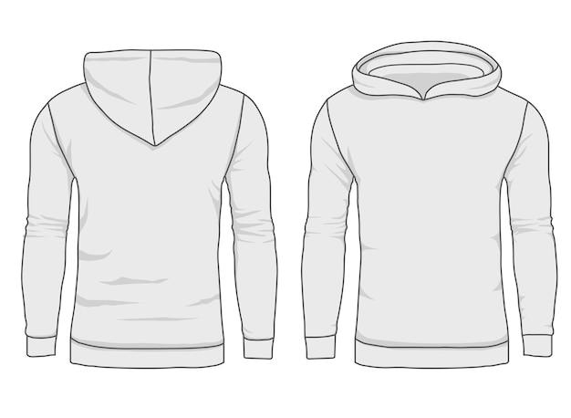 男性のフーディファッション、スウェットシャツのテンプレート。リアルなアウターウェアのモックアップの正面図と背面図。 Premiumベクター