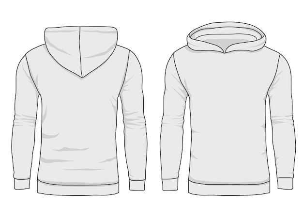 Men hoody fashion, sweatshirt template. realistic outerwear clothes mockup front and back view. Premium Vector