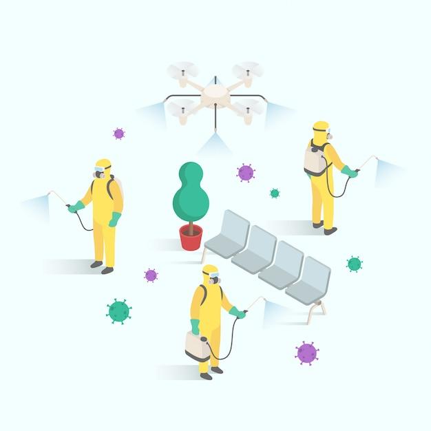 Мужчины в костюме хазмат очищают общественную зону от вирусов и бактерий в изометрическом дизайне Premium векторы
