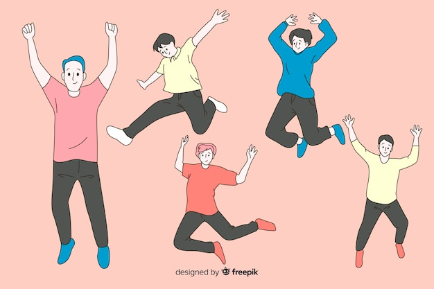 Men jumping in korean drawing style Free Vector