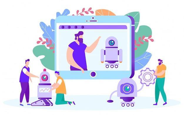 Men learn work with robots Premium Vector