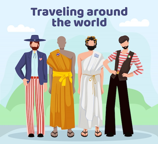 Men in national clothing different countries. Premium Vector