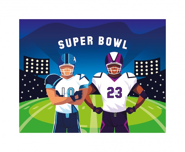 男子選手とアメリカンフットボール Premiumベクター