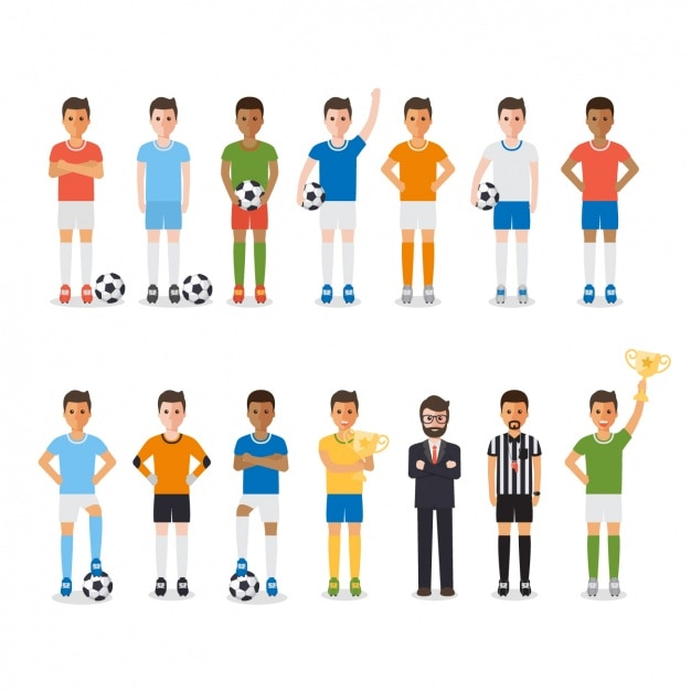 Men playing soccer Free Vector