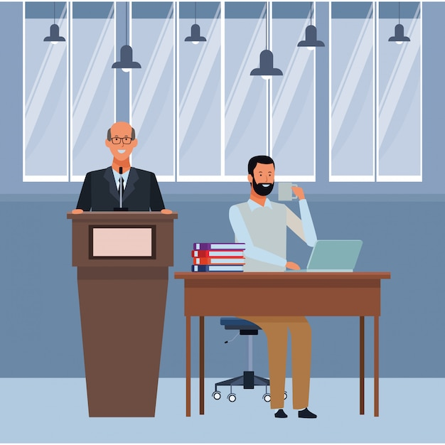 Men in a podium and office desk Premium Vector