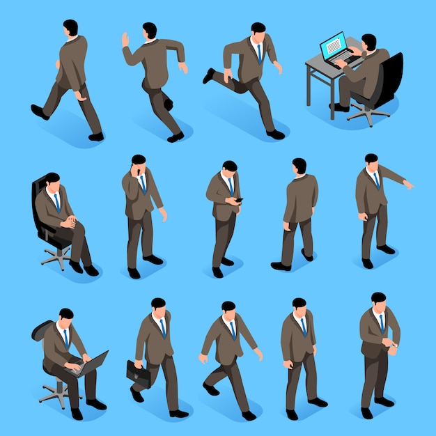 Мужчины позируют изометрические иконки с мужскими персонажами в деловых костюмах идут на работу и сидят на рабочем месте изолированно Бесплатные векторы