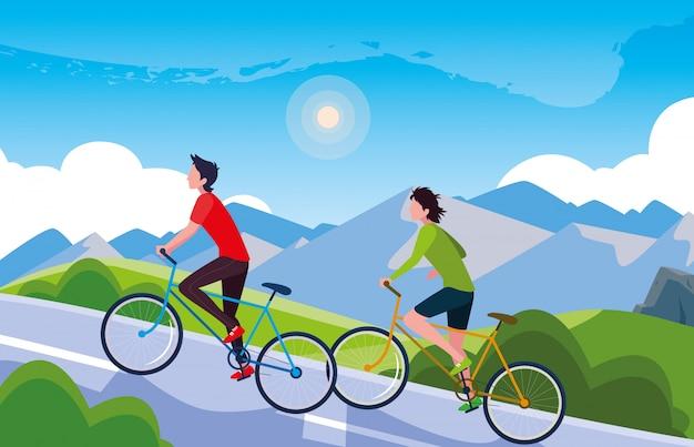 Men riding bike in landscape mountainous for road Premium Vector