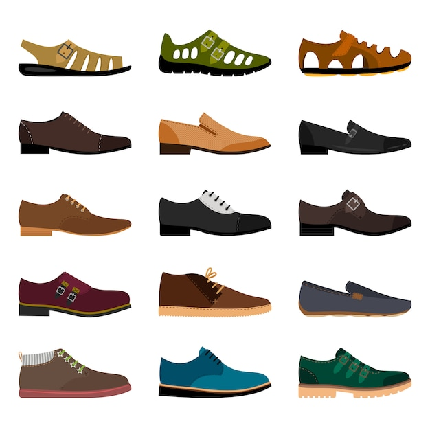 Men shoes isolated. vector vogue winter leather and summer fashion model man shoe collection illustration Premium Vector