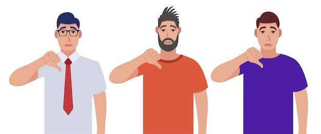 Premium Vector | Men showing thumbs down sign gesture. dislike, disagree,  disappointment, disapprove, no deal concept. character set