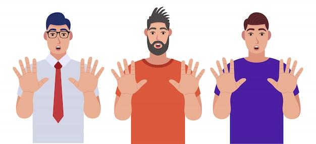 Мужчины показывают стоп жест своими руками. набор символов. иллюстрация в мультяшном стиле. Premium векторы