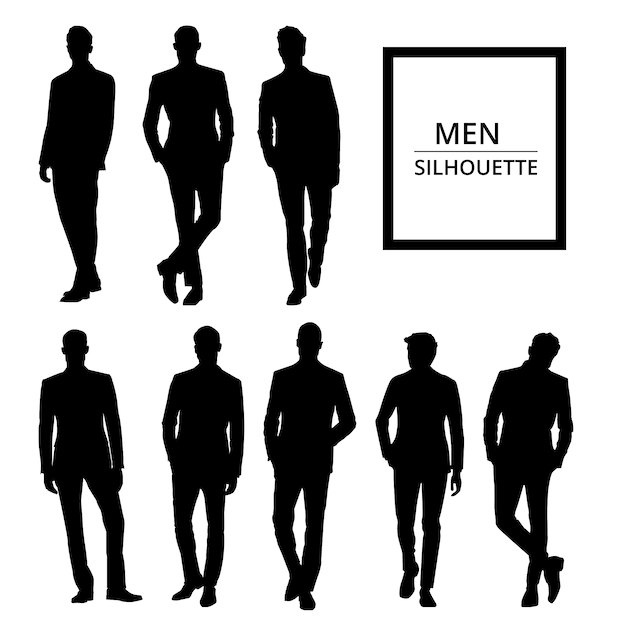 Men silhouettes in suit Free Vector