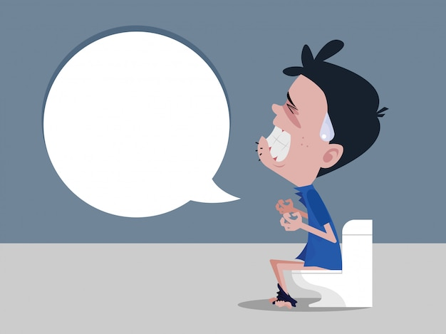 Men sitting on the toilet and constipation are experiencing severe abdominal pain Premium Vector