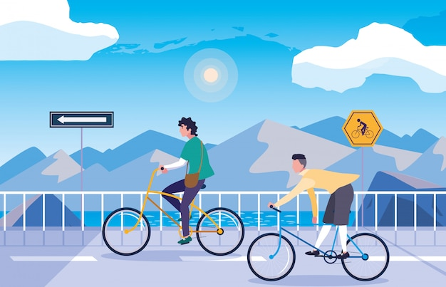 Men in snowscape nature with signage for cyclist Premium Vector