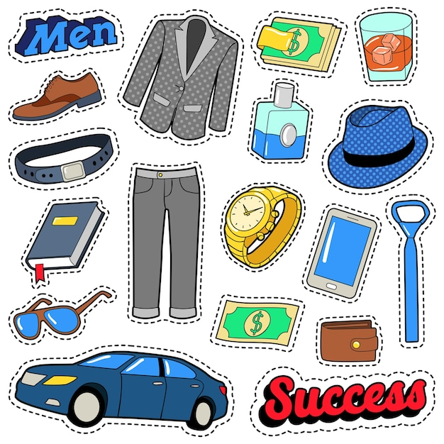 Men success accessories and clothes set for stickers, patches and badges. vector doodle Premium Vector