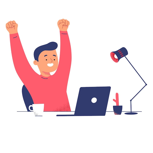 Men success laptop relieve work from home computer great Free Vector