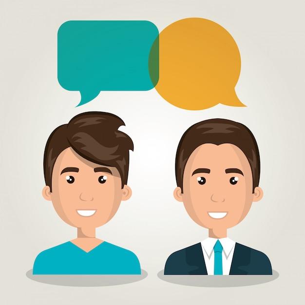 Men talking dialogue isolated Premium Vector