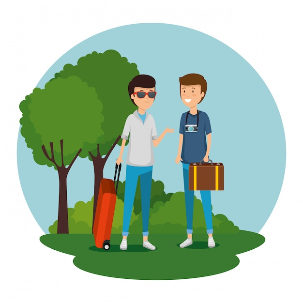 Men tourist with suitcase and baggage to travel Free Vector