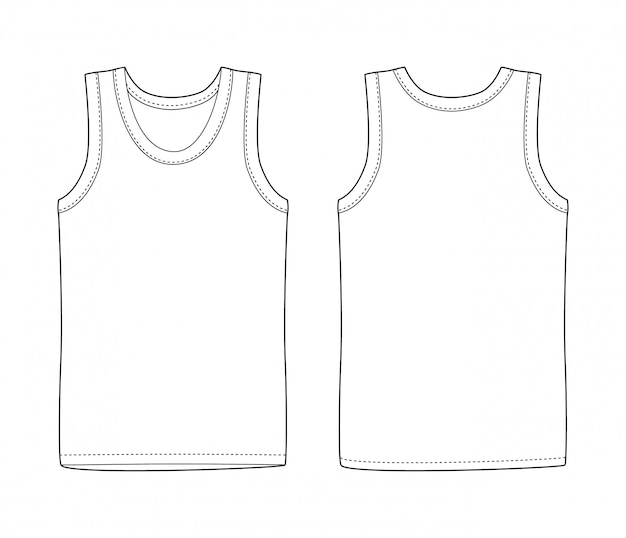 Men vest underwear. white tank top in front and back views. isolated sleeveless male sport shirts or men top apparel. blank t-shirt. casual style. Premium Vector