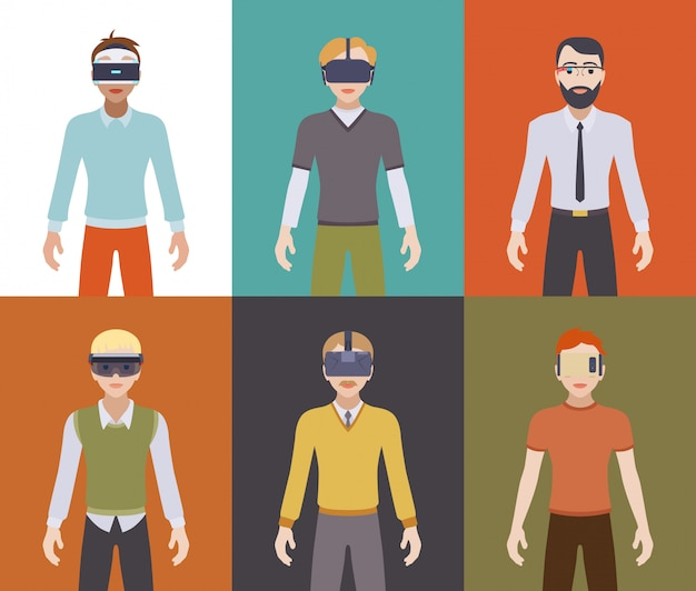 Men in the virtual reality headsets Premium Vector