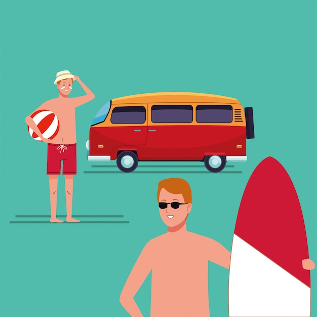 Men wearing beach suit in surfboard character Premium Vector