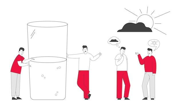 Мужчины с плохими и хорошими мыслями в голове стоят у огромного наполовину полного или пустого стакана с водой. Premium векторы