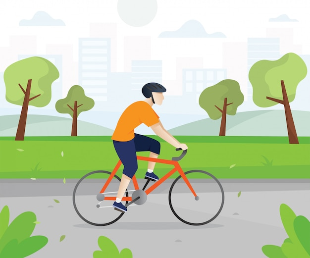 Men with bicycles in the city park Premium Vector