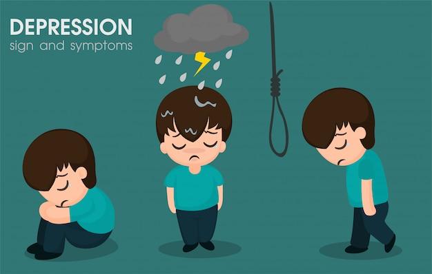 Men with bipolar symptoms Premium Vector