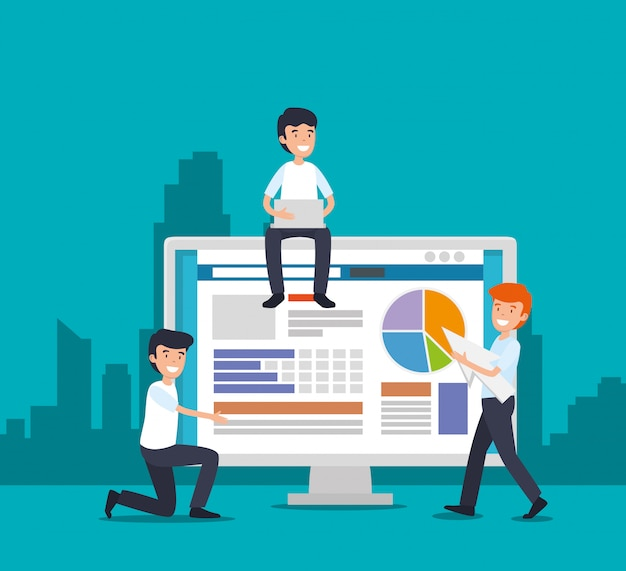 men with computer technology and documents strategy vector