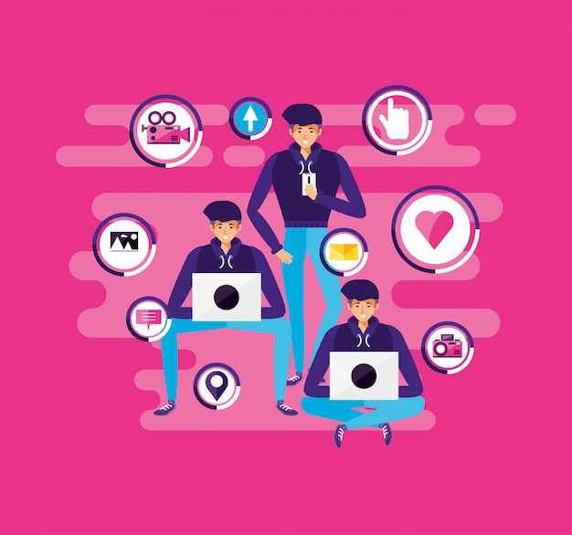 Men with laptop and social media icons Premium Vector