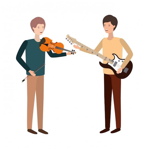 Men with musical instruments character Premium Vector