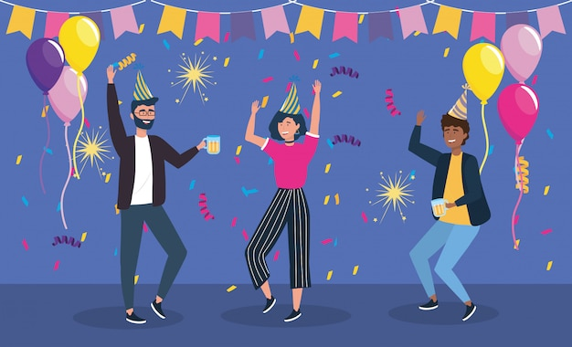 Men and woman dancing on party Free Vector