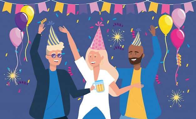 Men and woman dancing with confetti decoration Free Vector