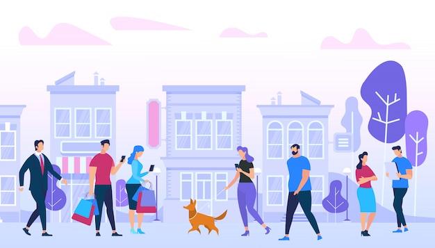 Men and woman walking in city. Premium Vector