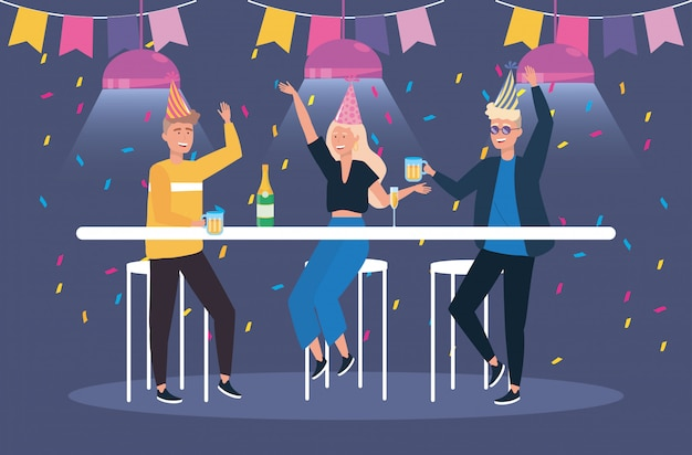 Men and woman with champagne and beer glass Free Vector