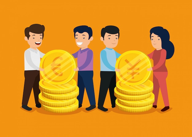 Men and woman with international coins money Free Vector