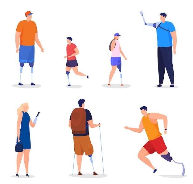 義手と義足を持つ男性、女性、子供。障害者は充実した生活を送り、走り、山でハイキングに出かけます。フラットな漫画スタイルのカラフルなイラスト。 Premiumベクター