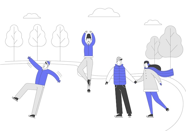 Мужчины женщины фигурное катание на замерзшем пруду или катке в зимний день Premium векторы