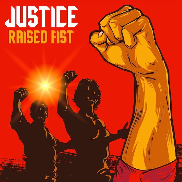 Men and women clenched fist propaganda illustration Premium Vector
