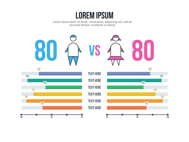 Men women comparison, infographic element and presentation template ...