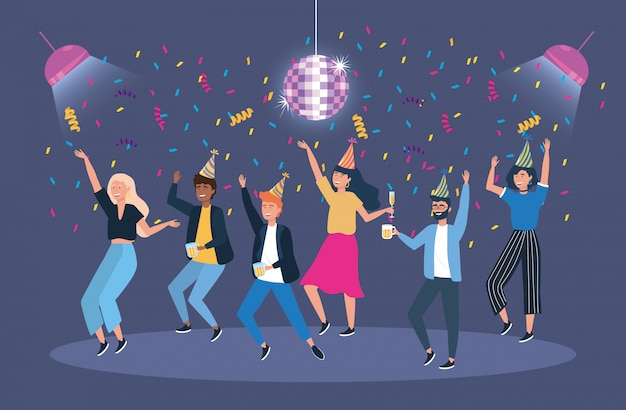 Men and women in the event with confetti and lights Free Vector