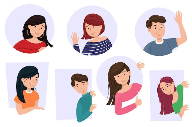 Men and women look out, cartoon characters are smiling. curious people set,   isolates in cartoony flat style. Premium Vector