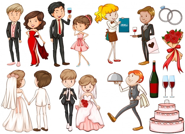 Men and women at the party Free Vector