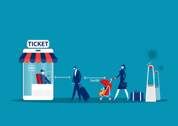 Men and women stand queue at ticket offices,cocept  they keep their distance. Premium Vector