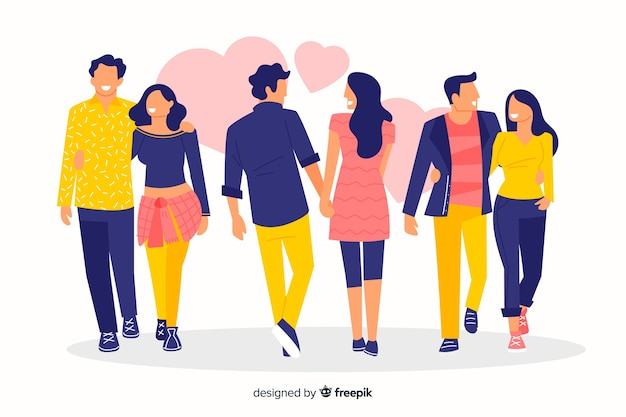 Men and women walking collection Free Vector