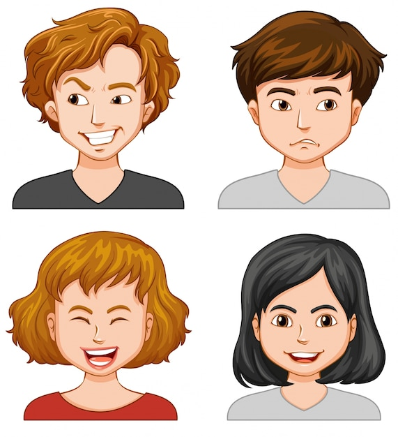 Men and women with different emotions Free Vector