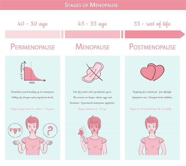 Стадии менопаузы. медицинская графическая концепция с графиком Premium векторы